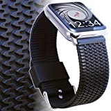Apple Watch Band 42mm LG / XL TIRE TREAD Rubber iWatch Band- Black Silicone Replacement Sport Strap for Large Wrists- Stainless Steel Buckle & Adapters, Fits All Apple Watch models, by Carterjett