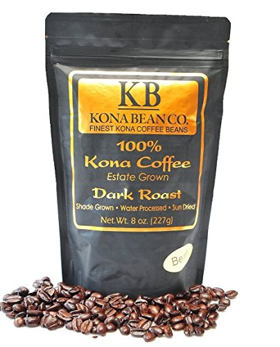 Kona Coffee Beans - Kona Bean Co. Extra Fancy Domain Grown 100% Kona Coffee - Hawaiian Kona Coffee Dark Roast Whole Bean 8oz