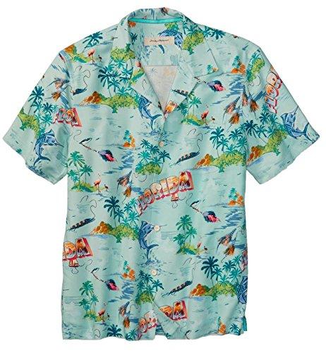 Tommy Bahama Men's Big & Tall Florida Seas Silk Camp Hawaiian Shirt (Clear Ocean, 3XB) - Tommy Bahama Hawaiian Shirts