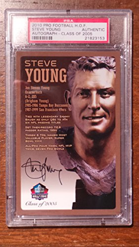 Steve Young Autographed Pro Football - Steve Young NFL Pro Football Hall of Fame Bronze Bust Set Card Autographed Limited Edition #34/150 PSA AUTHENTIC