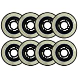 Choice Inline Skate Replacement Wheels Black/Clear 76mm 80A 4-Spoke 8 Pack