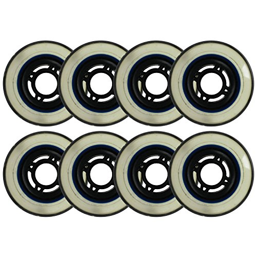 Choice Inline Skate Replacement Wheels Black/Clear 76mm 80A 4-Spoke 8 Pack by Choice