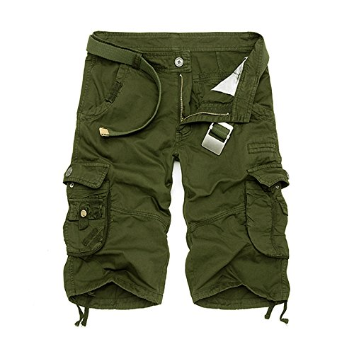 NiuZi Men's Loose Fit Twill Cargo Shorts Cotton Multi-Pocket Outdoor Lightweight Cargo Camouflage Shorts (Army Green, Size 32=Label 34) ()