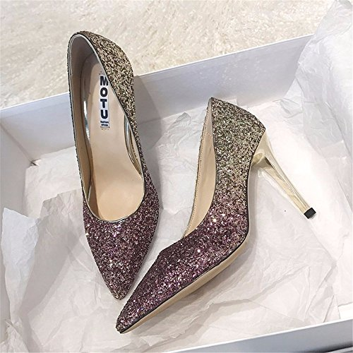 HXVU56546 Cristal Degradado Nuevo Señoras Tacones Lentejuelas Fina Con Parte De Moda Zapatos 39 Púrpura
