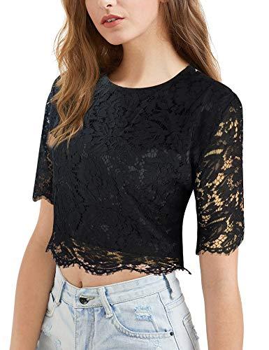 - Oyamiki Women's Plus Size Guipure Applique Tunic Blouse with Lace Mesh Crop Top Black/XXL