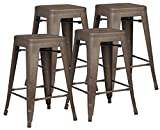 Poly and Bark Trattoria 24″ Counter Height Stool in Bronze (Set of 4)