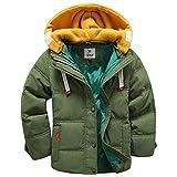 spirit hood coat - Boys Short Puffer Jacket with Detachable Hood Short Bubble Coat for Kids Olive Green 100