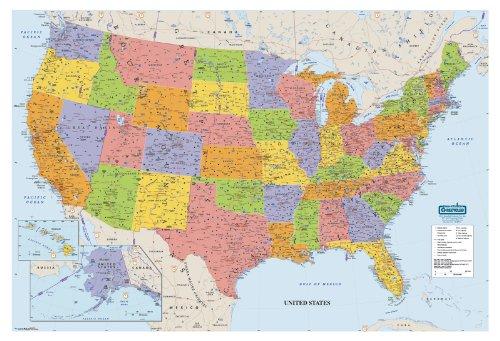 House of Doolittle HOD721 US & WORLD MAPS LAMINATED US 38X25