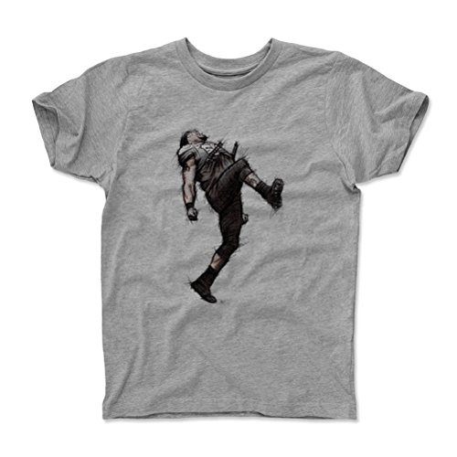 500 LEVEL's Ray Lewis Youth & Kids T-Shirt 14-16Y Heather Gray - Ray Lewis Dance Sketch K - Vintage Baltimore Football Fan Gear & Sports Apparel (Rays Youth Jersey)