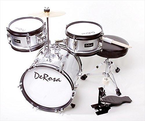 De Rosa DRM312-SL 12 in. Kids Children Drum Set in Silver - 3 Piece Set by De Rosa