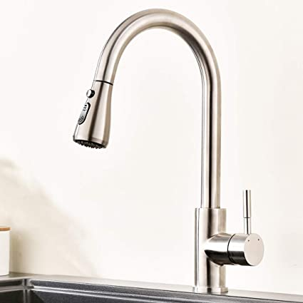 Commercial Kitchen Faucet Stainless Steel Single Handle Pull Out ...