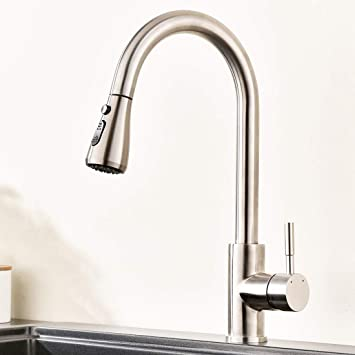 Commercial Kitchen Faucet Stainless Steel Single Handle Pull Out Kitchen  Sink Faucets with Pull down Sprayer, Brushed Nickel