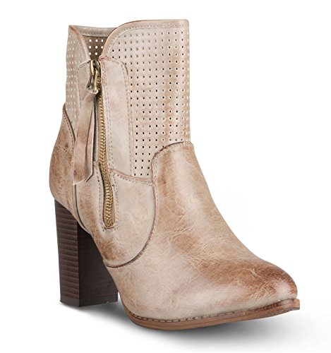 Women's Boot Twisted Gina High Taupe Perferated Ankle Heel fgApqxn
