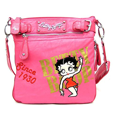 Betty Boop Pink Leather - Betty Boop pink cross body shoulder messenger embroidered bag golden sling pouch