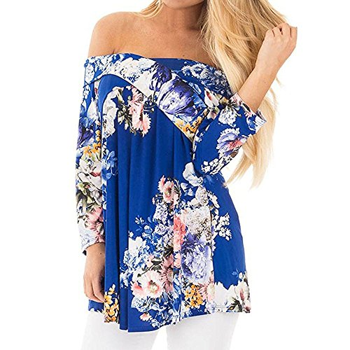SKY Mujeres fuera del hombro de impresión de flores manga larga suelta Blusa Casual Blusa Loose Casual Blouse Tops Azul S~L3 Azul