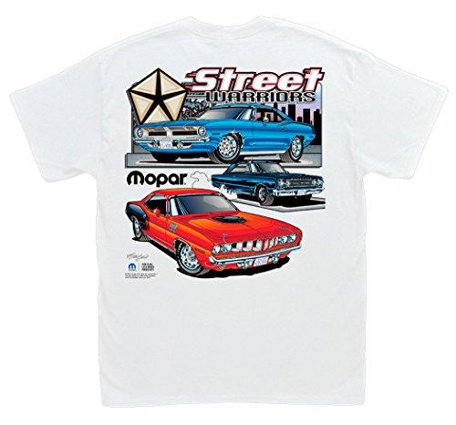 426 Hemi Cuda (Hot Shirts Mopar Street Warriors White T-Shirt: Large - Plymouth Hemi Cuda Barracuda GTX)