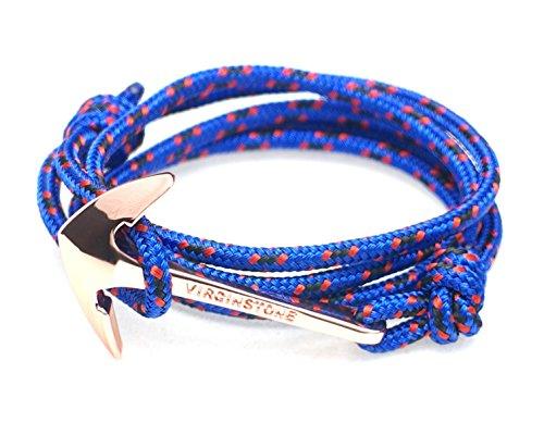 VIRGINSTONE Rose Gold Plating Anchor on Filigree Nylon Ropes Nautical Bracelets (Bat)