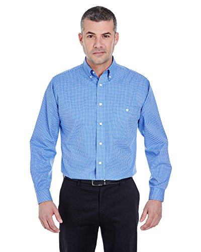 (UltraClub Men's Lightweight Wrinkle Resistant Woven Shirt, 3XL, French Blue)