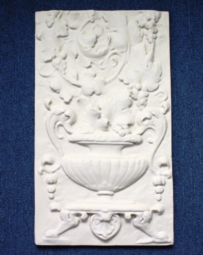 "Decorative Roman Style Wall Frieze, Fiore Flower Portrait, 18-5/8"" x 18-5/8"" x 1-1/2"""