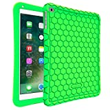 Fintie iPad 2017 9.7 Inch iPad Air 2 iPad Air Case - [Honey Comb Series] Light Weight Anti Slip Kids Friendly Shock Proof Silicone Protective Cover for Apple iPad 5th Gen - iPad Air 1 2 - Green