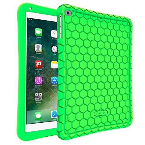 Fintie iPad 9.7 2018 2017 / iPad Air 2 / iPad Air Case - [Honey Comb Series] Light Weight Anti Slip Kids Friendly Shock Proof Silicone Protective Cover for iPad 6th / 5th Gen, iPad Air 1 2, Green