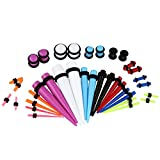 Coloured Ear Gauges Stretching Taper & Tunnel Plugs Kit 14G - 00G VCMART