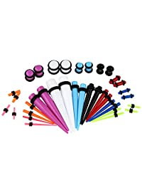 Vcmart 36 Pieces Acrylic Colorful Ear Stretching Kit Tapers Plugs Tunnels Gauge 14G-00G