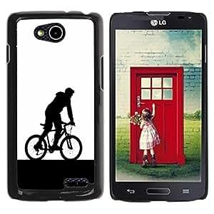 QCASE / LG OPTIMUS L90 / D415 / el hombre de la bicicleta deportes hood arte símbolo eco / Delgado Negro Plástico caso cubierta Shell Armor Funda Case Cover