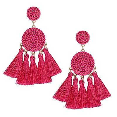 ALEXY Women's Tassel Earring, Boho Thread Fringe Chandelier Drop Dangle Earrings Beaded Disc Stud Earring