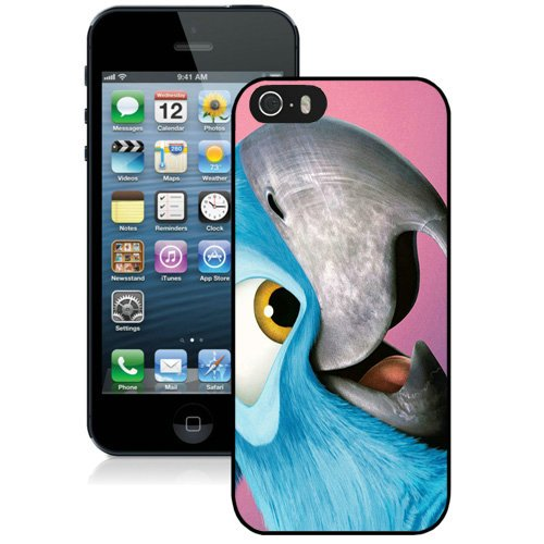 Coque,Fashion Coque iphone 5S Blu Jewel In Rio Parrot Cartoon Noir Screen Cover Case Cover Fashion and Hot Sale Design