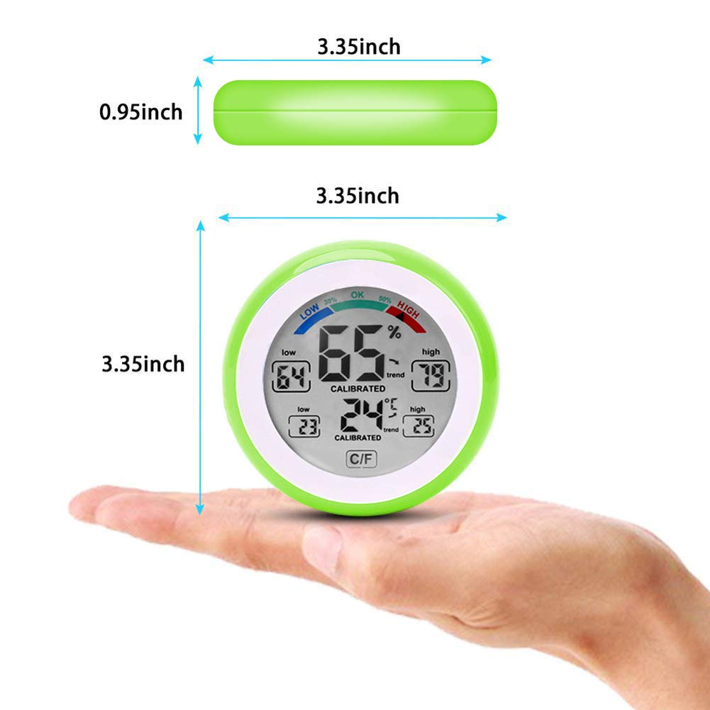 JIGUOOR Multifunctional Digital Thermometer,Hygrometer,Temperature Humidity Meter-Max /& Min Value Trend Display with℃//℉ Touch Screen