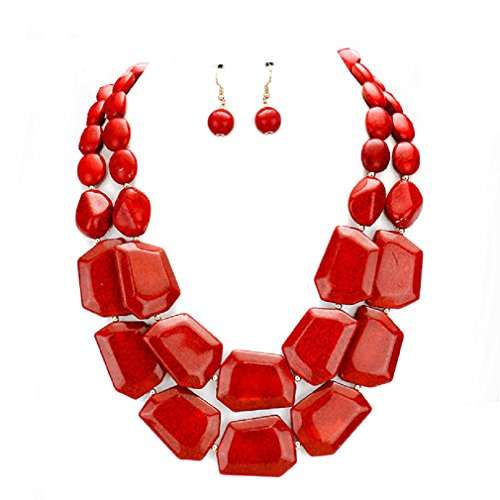 Uniklook Statement Layered Strands Chunky Mixed Beads Necklace Earrings Set Gift Bijoux (Red) (Jewelry Double Strand)