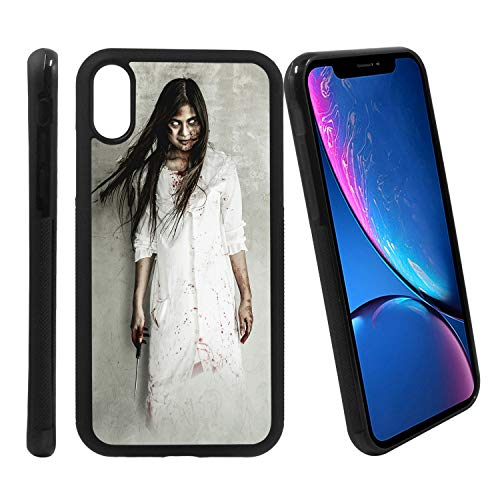 [Halloween Asian Girl Dressed As Killer with Blood with Terrible Eyes] Compatible with Apple iPhone XR, Non-Slip Soft Rubber Side & Hard Back Case Cover Shell Skin