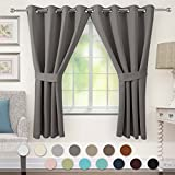 "VEEYOO Blackout Curtains Grommet Thermal Insulated Window Curtains and Drapes with Tiebacks for Living Room and Bedroom, 2 Panels, 52"" W x 63"" L, Grey"