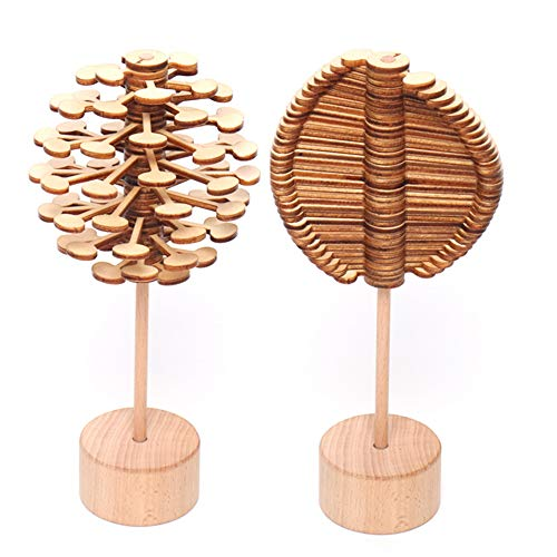QLL Wooden Rotary Relief Bar Toys Magic Wand Stress Relief Toy for Children Adults Rotating Lollipop Decompression Lollipop Creative