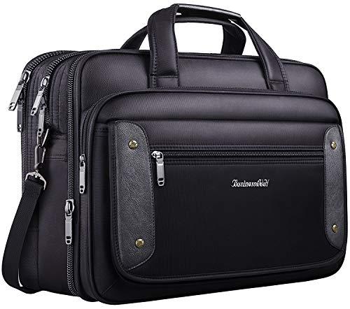 17 inch Laptop Bag, Business Travel Bag, Expandable Large Hybrid Shoulder Bag, Water Resisatant Business Messenger Briefcases for Men Fits 17.3 Inch Laptop, Computer, Tablet-Black