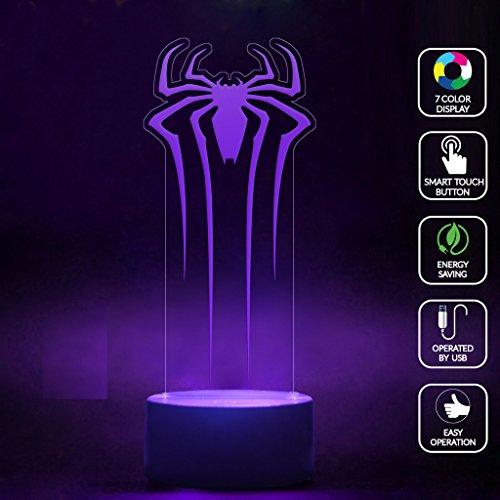 CMLART Spider Man Logo 3d Lamp Night 7 Color Change Best Gift Night Light LED Furnish Desk Table Lighting Home Decoration