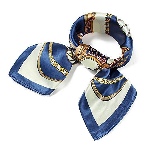 (QBSM Womens Fashion Square Satin Silk Neck Head Hair Scarf Hijab Bandana for Sleeping Blue Gold Chain)