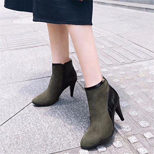 código alto tacón de botas botas invierno y Botas fino de de green altas FZvqH8p