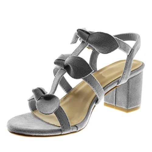 Blocco Grigio 6 con Alla Sandali Moda Donna a Caviglia Scarpe Cinturino Tacco Briglia Nodo Alto Angkorly cm 5 Multi ZUnXxt