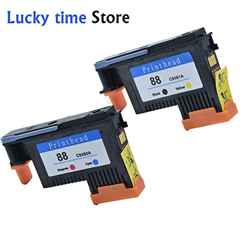 lucky time 2 PACK 88 Printhead Replacement for HP88 Print Head C9381A C9382A For HP officejet Pro K5400 K5400dtn K5400dn K5400tn L7550 L7750 K550 88 Officejet Printhead