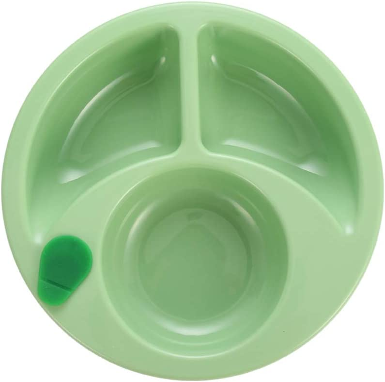 Hot Water Plate Plastic Food Warming Plate for Baby Suction Cup Anti Slip Divided Plates Kids Feeding Plates Green