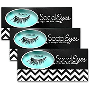SocialEyes Whiplash 3 Pack Bundle Cruelty Free Fake Eyelashes False Black
