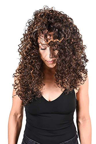 Human Hair Wigs Hair Replacement Wigs Synthetic Heat Resistant Wig Afro Kinkys Curly Human Hair Wig Lace Front Wigs Brown/Honey Auburn -