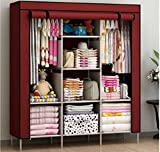GTC 6+2 Layer Fancy And Portable Foldable Closet Wardrobe With Shelves (Need To Be Assembled) (Wine Red) IT N - 88130