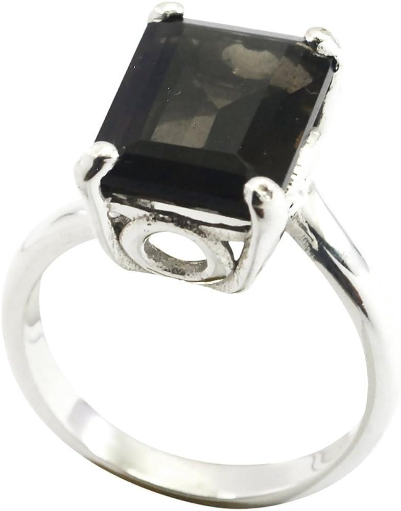 55Carat Natural Smoky Quartz Silver Ring Vintage Square Astrological Handmade Size 4,5,6,7,8,9,10,11,12