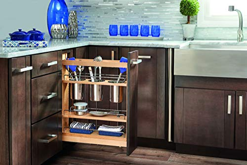 Rev-A-Shelf - 448UT-BCSC-5C - 5 in. Pull-Out Wood Base Cabinet Utensil Organizer with 3 Bins and Soft-Close -