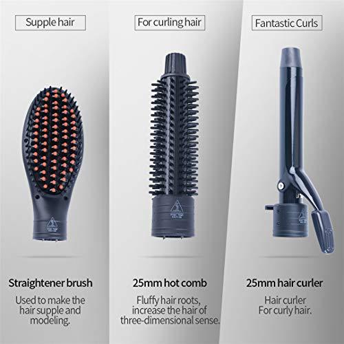 3 en 1 Intercambiables Turmalina Cerámica Pelo Rizador y Volumen Peine y Pelo Plancha Cepillo Herramienta de Peinado Conjunto con un Guante Resistente a la ...