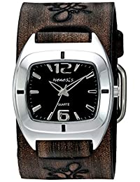 Nemesis Women's 'Retro Vintage Series' Quartz Stainless Steel and Leather Automatic Watch, Color:Brown (Model: DBVFB090K)