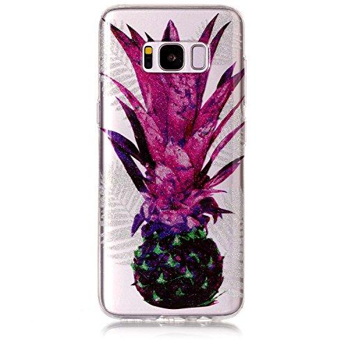 Funda Samsung Galaxy S8 plus,SainCat Moda Alta Calidad suave de TPU Silicona Suave Funda Carcasa Caso Parachoques Diseño pintado Patrón para CarcasasTPU Silicona Flexible Candy Colors Ultra Delgado Li Piña de hoja púrpura